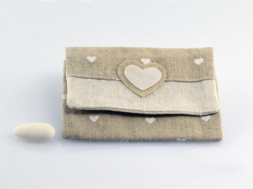 Heart - printed jute envelope  DG-9350