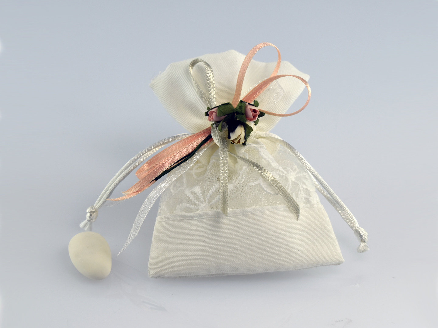 Small cotton and lace bag with pulling LDZ-5443